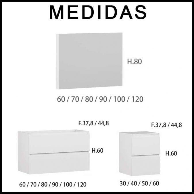Medidas Mueble de Baño Aqua 4 cajones suspendido 100 cm. 02