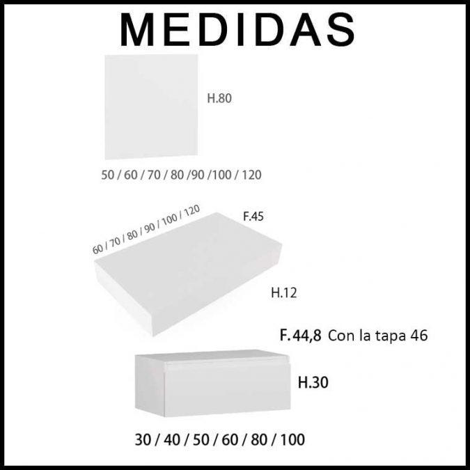 Medidas Mueble de Baño Aqua suspendido 1 cajón y faldón 80 cm.