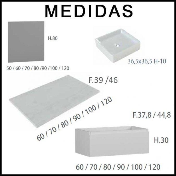 Medidas Mueble de Baño Aqua suspendido 120 cm. 01