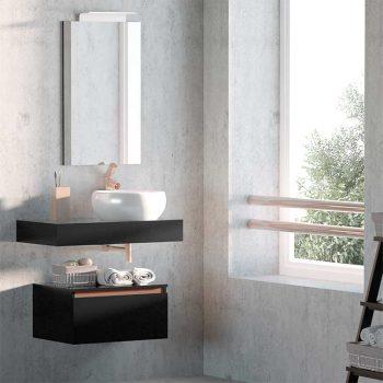 Mueble de Baño Aqua suspendido 1 cajón y faldón 80 cm.
