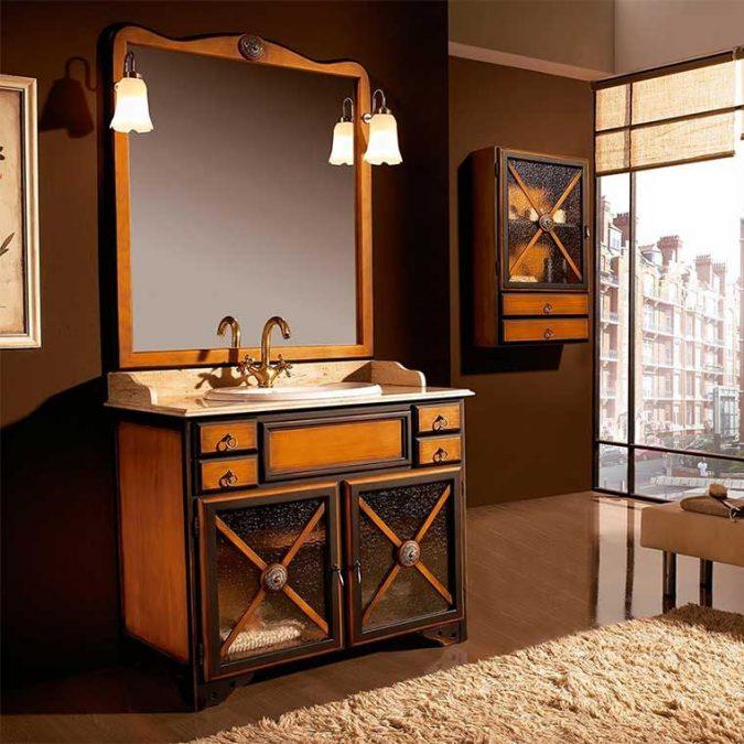 Conjunto Mueble de baño Alba 95 cm. de Taberner. Acabado Patinado 2 colores