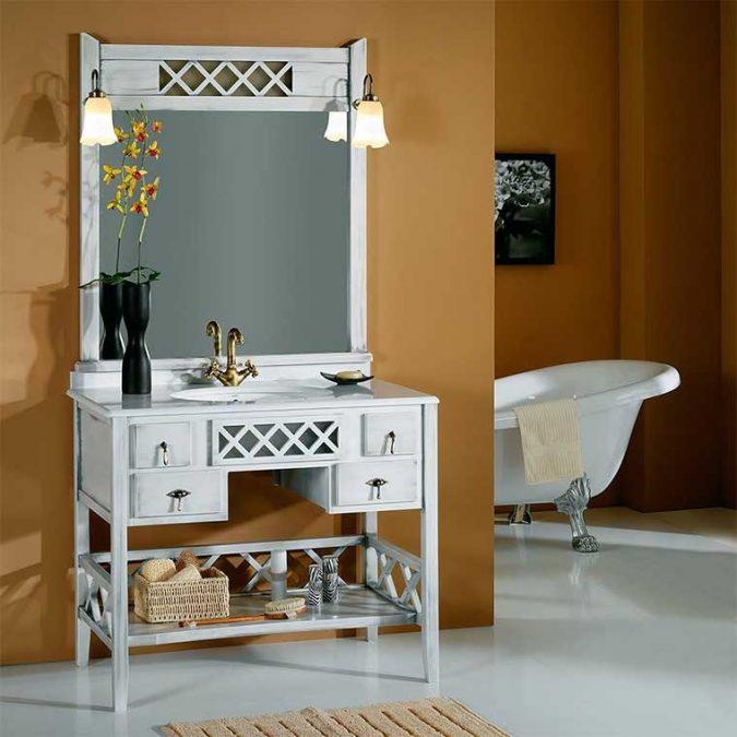 Conjunto Mueble de baño Toscano de 100 cm. Gris patinado
