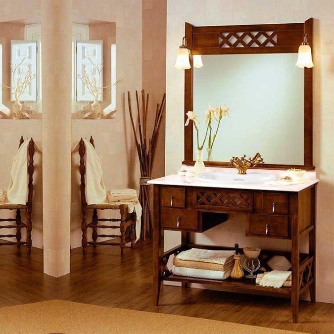 Conjunto Mueble de baño Toscano de 100 cm. Rústico inglés