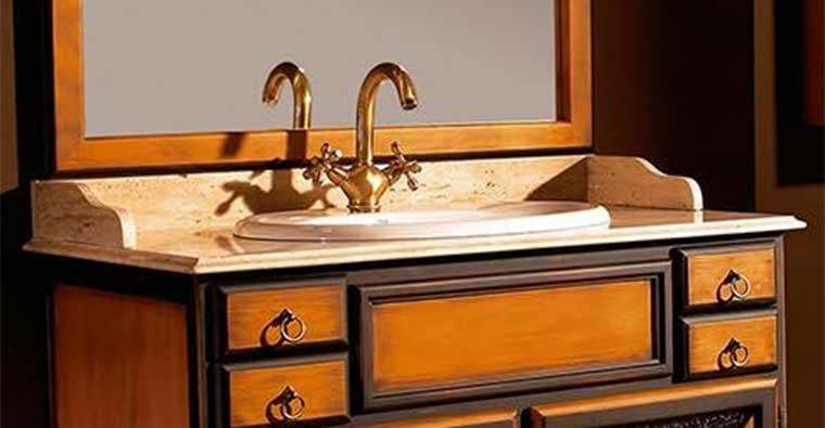 Mueble de baño Alba de Taberner con encimera de mármol Travertino