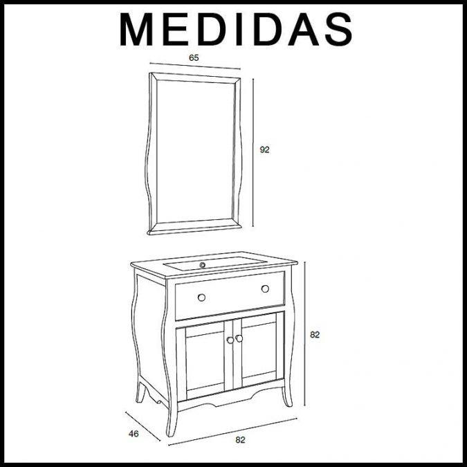Medidas Conjunto Mueble de baño Home de 80 cm.