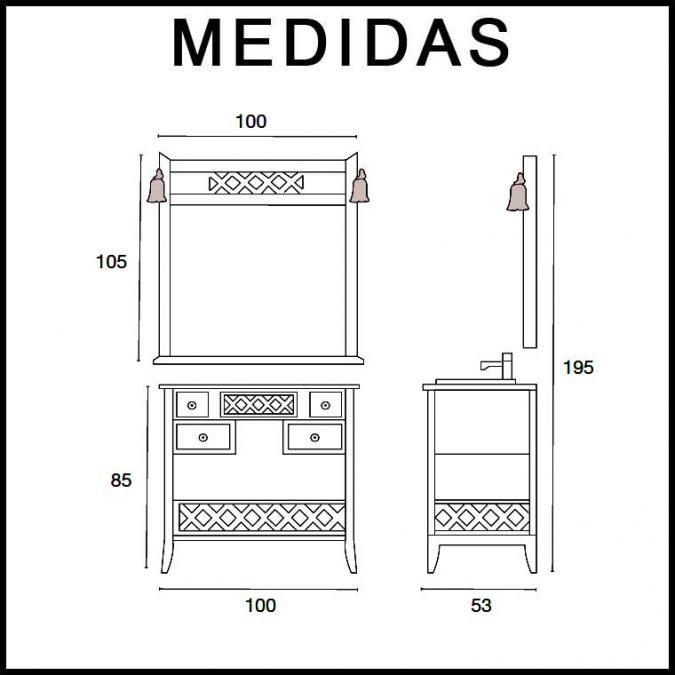 Medidas Conjunto Mueble de baño Toscano de 100 cm.