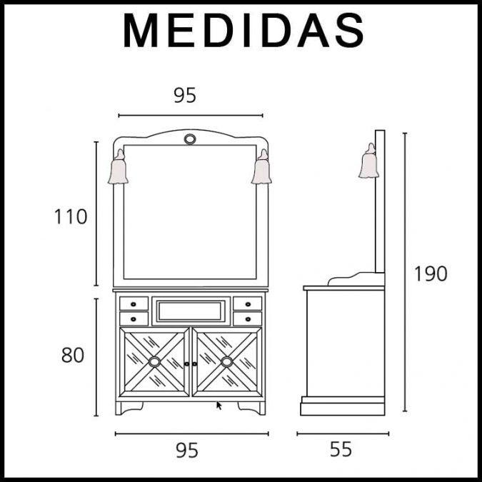 Medidas Conjunto Mueble de baño Alba 95 cm. de Taberner.