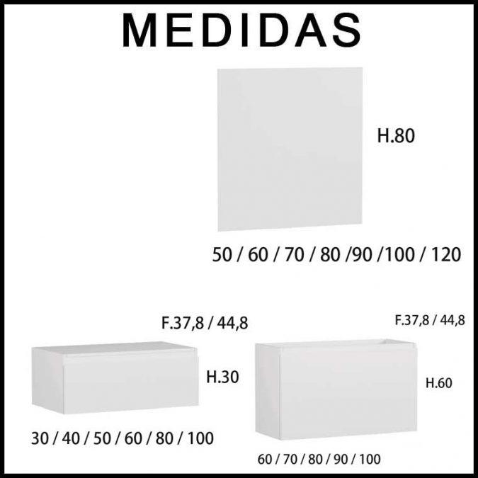 Medidas Mueble de Baño Aqua suspendido 2 cajones de 140 cm.
