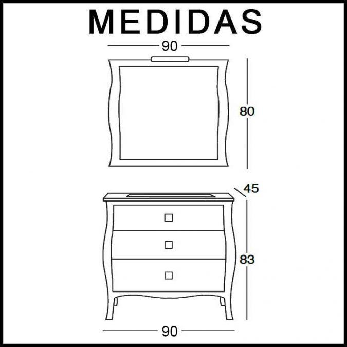 Medidas Mueble de Baño Araceli 90 cm.