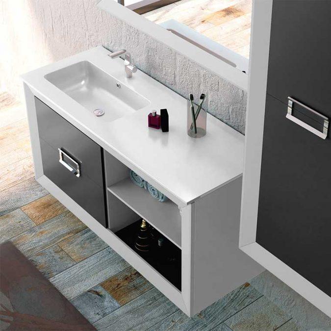 Detalle Muebles de Baño L-Gant 100 cm. 2 cajones más hueco con balda