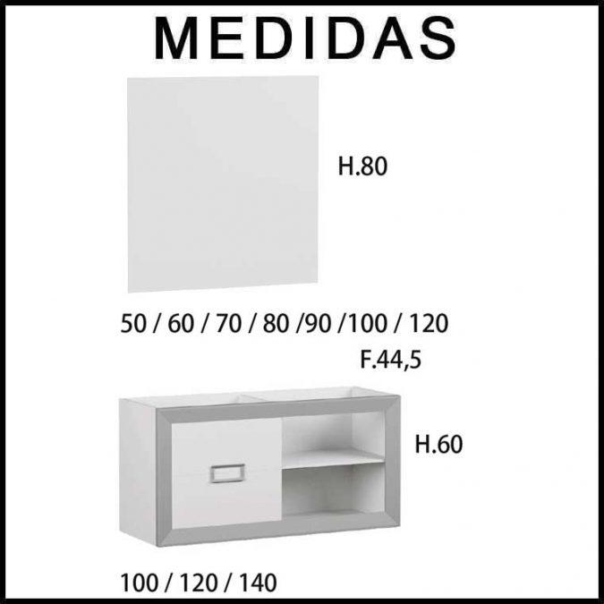 Medidas Muebles de Baño L-Gant 100 cm. 2 cajones más hueco con balda