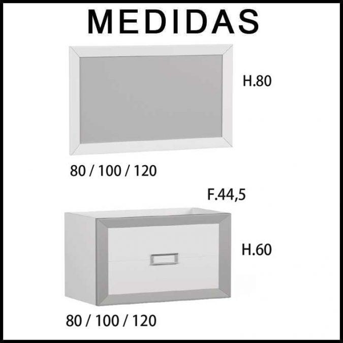 Medidas Muebles de Baño L-Gant 2 Cajones