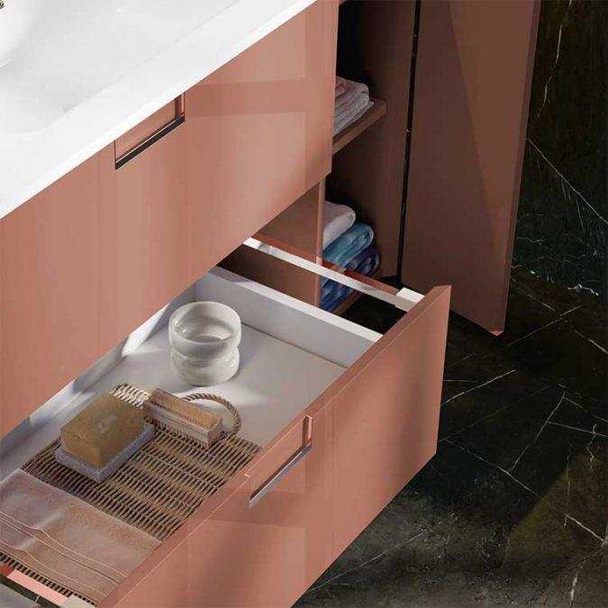 Detalle Mueble de Baño Suspendido Luna 2 Cajones 1 Puerta