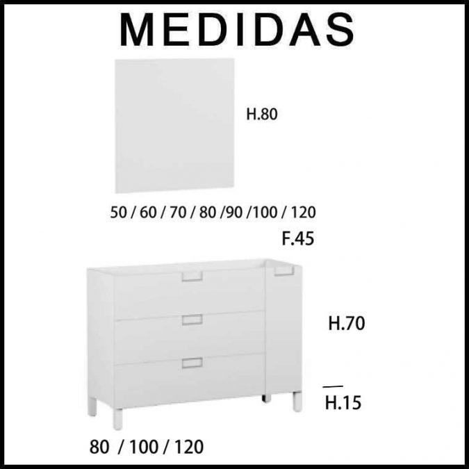 Medidas Mueble de Baño Luna 3 Cajones 1 Puerta