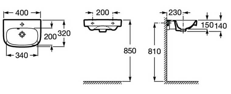 Medidas Lavabo Debba de Roca para Mueble de baño Zuri 55 cm.