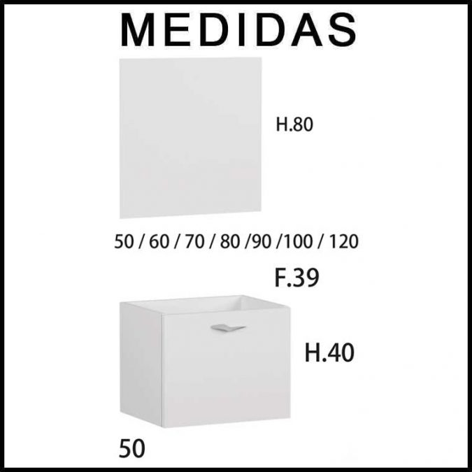 Medidas Muebles de Baño Piccolo 1 cajón