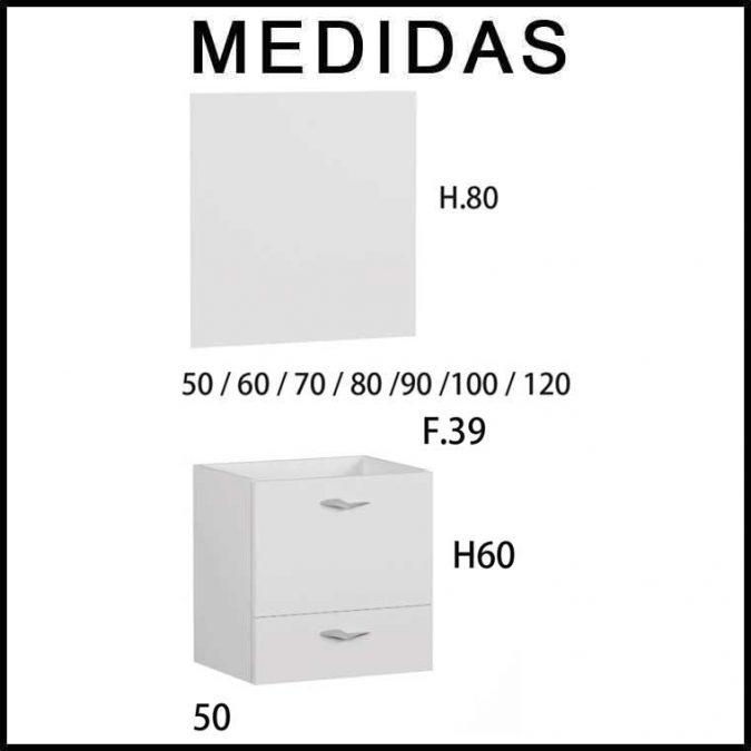 Medidas Muebles de Baño Piccolo 2 cajones