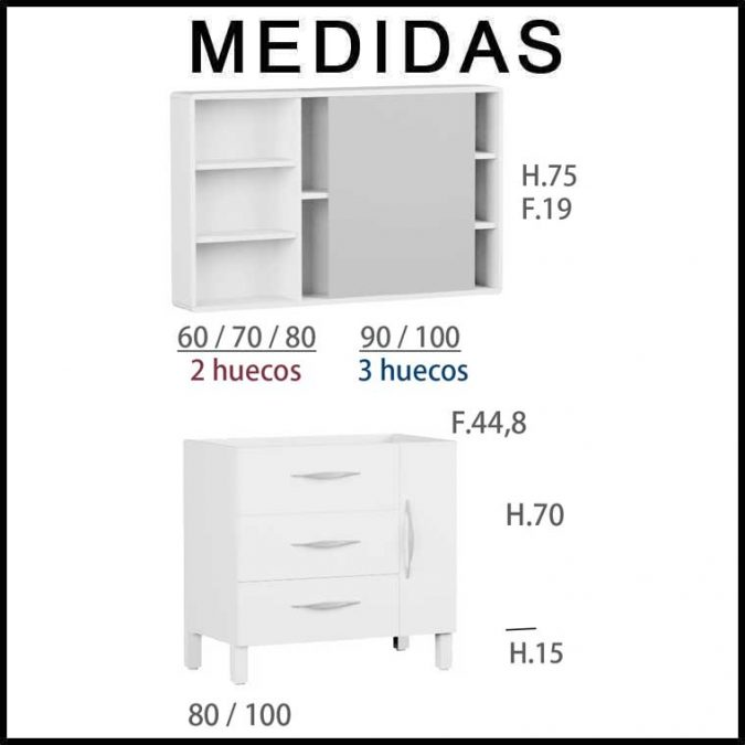 Medidas Mueble de Baño Tecia 80 cm. 3 cajones 1 puerta con Camerino Vintass