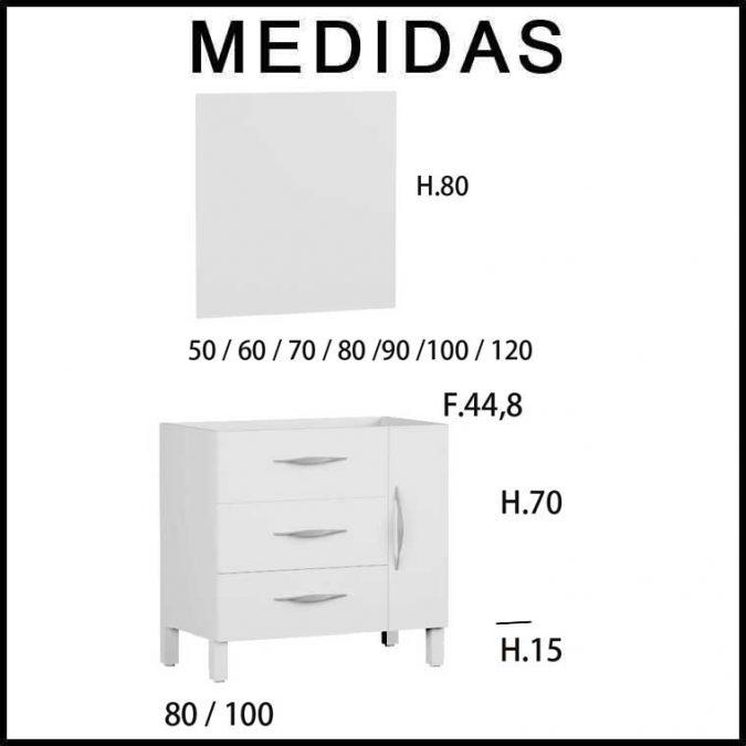 Medidas Mueble de Baño Tecia 80 cm. 3 cajones 1 puerta
