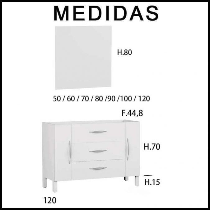 Medidas Mueble de Baño Tecia 80 cm. 3 cajones 2 puertas