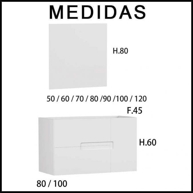 Medidas Mueble de Baño Thais 2 Cajones 1 Puerta