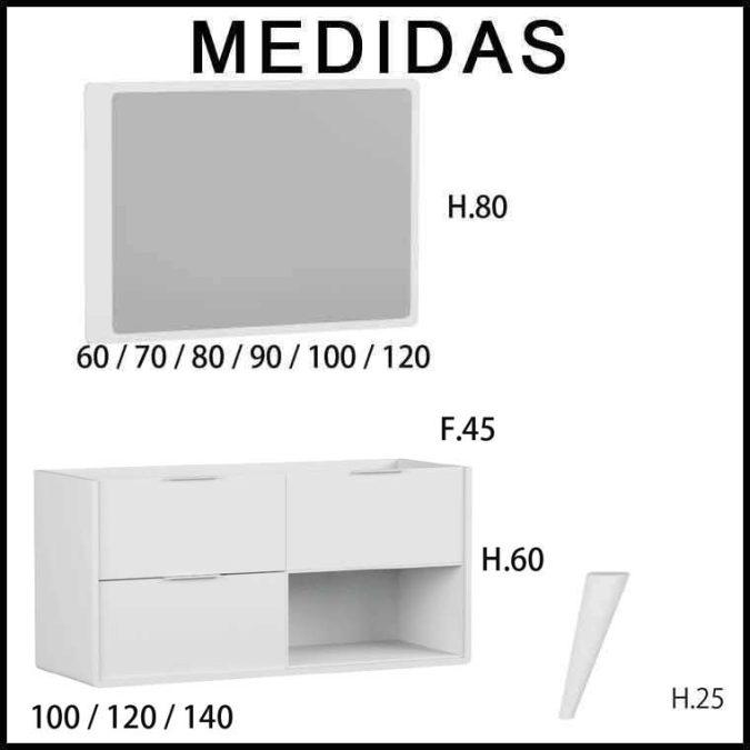 Medidas Mueble de Baño Vintage Vintass 3 cajones y caja baja lateral